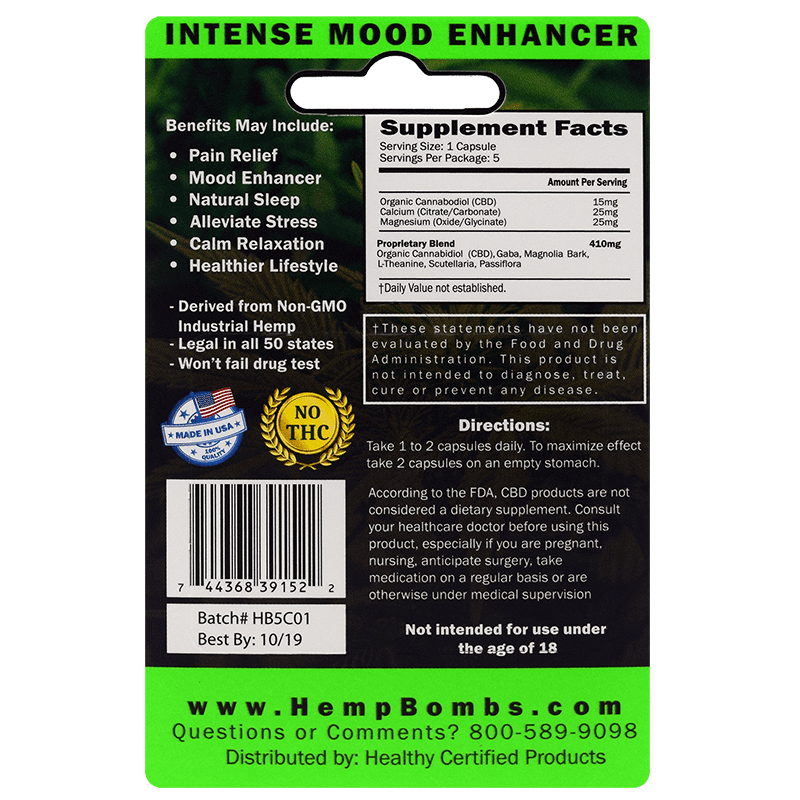 5-count cbd capsules - back of card