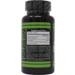15-count of cbd capsules - back of bottle