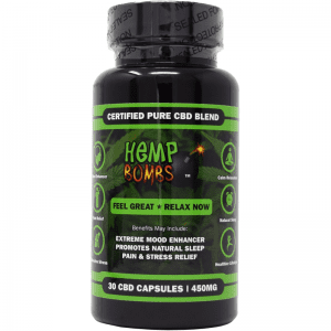 30-count cbd capsules - front of bottle