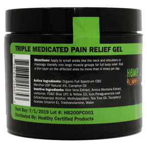 cbd pain freeze 4oz - back of container