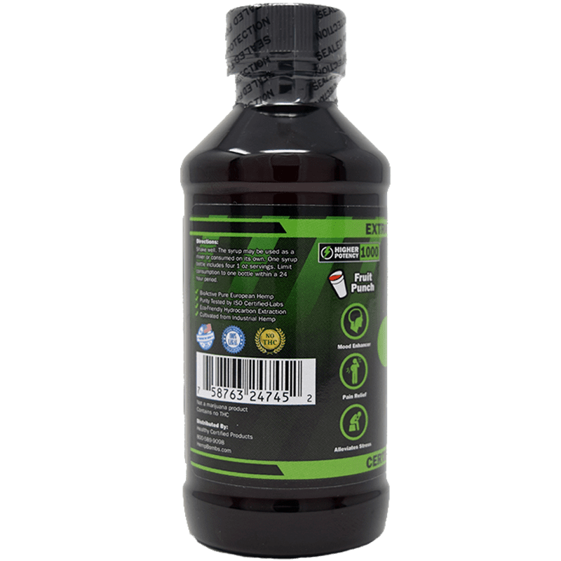 1000mg cbd syrup - side of label