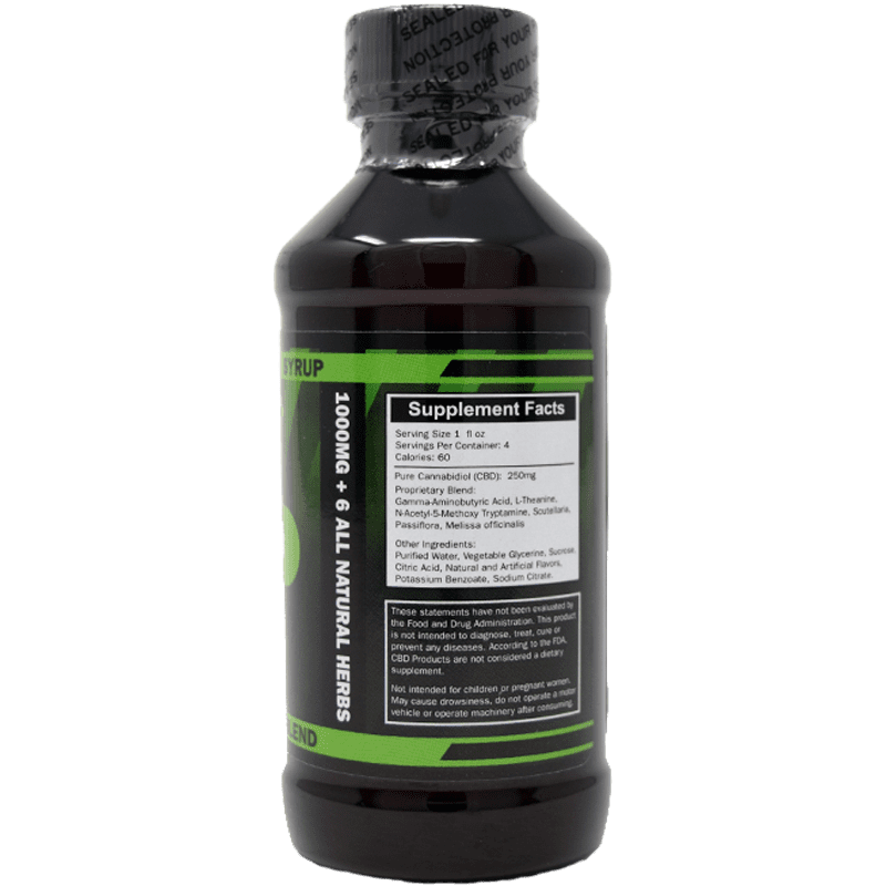 1000mg cbd syrup - back of label