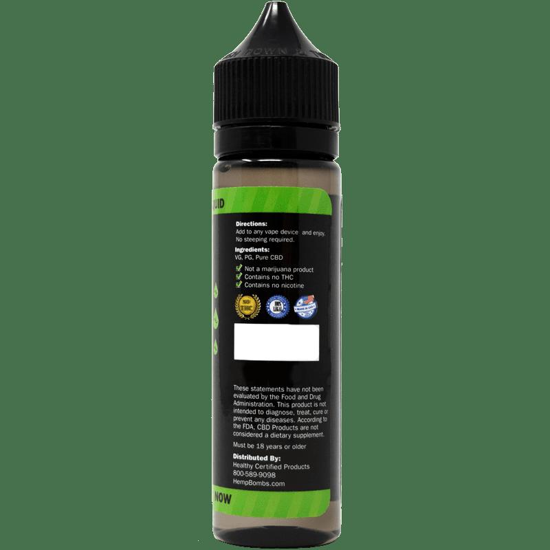 200mg cbd e-liquid - back of bottle label