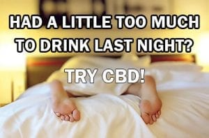 person slumped over the bed | had a little to much to drink last night? Try CBD!