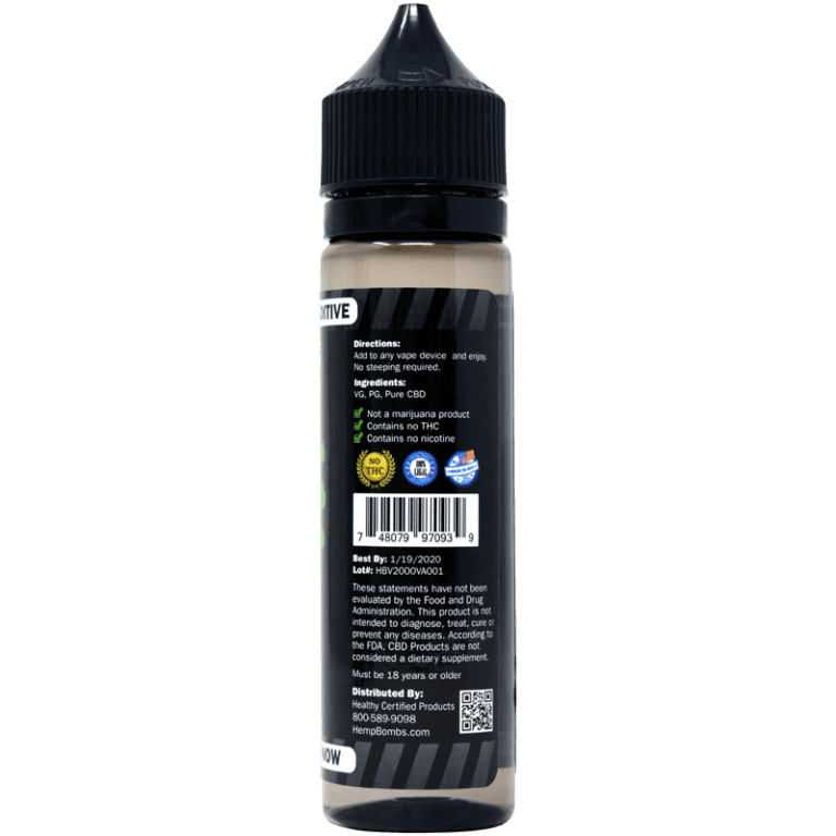 2000mg CBD E-Liquid Additive - back view