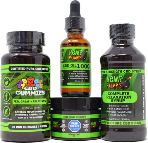 Hemp Bombs products including gummies, capsules, oil, and pain freeze