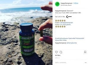 instagram screenshot of hemp bombs capsules pictured by rocks and water