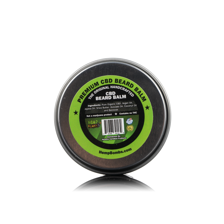 A back view of CBD Beard Balm, a grooming product for men