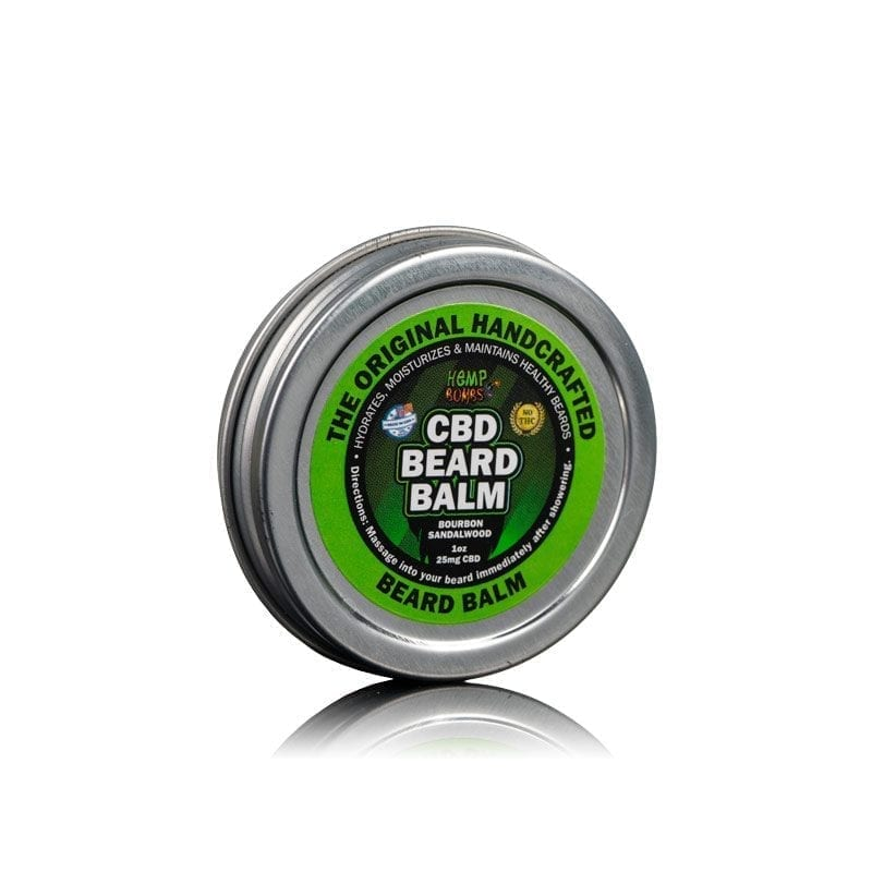 Side view of Hemp Bombs CBD Beard Balm, a men's grooming product