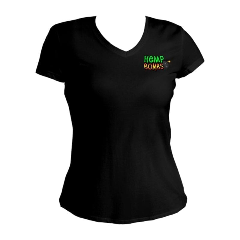 hemp bombs ladies vneck black