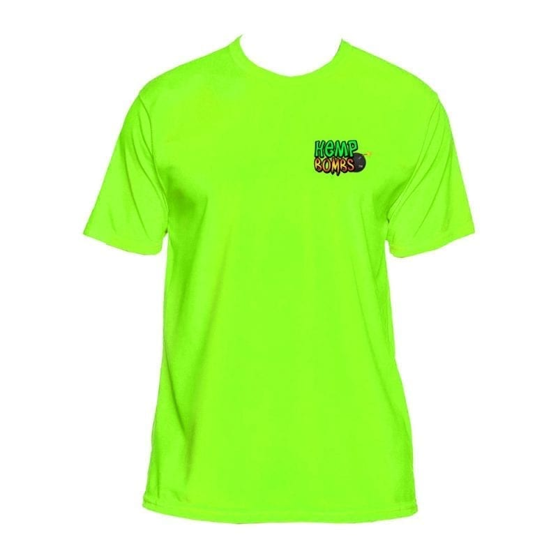Hemp Bombs lime green dri-fit shirt