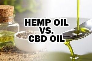 "spoon full of cbd oil with text that says, ""cbd oil vs. hemp oil"""
