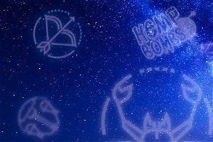 Various zodiac signs on a blue background, along with the Hemp Bombs logo