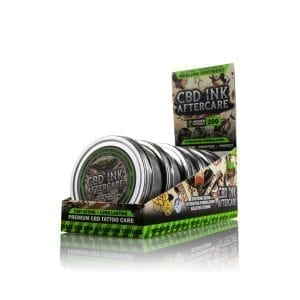 Several containers of Hemp Bombs CBD Tattoo Ointment