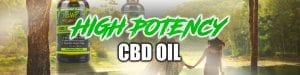 High Potency CBD Oil a bottle of Hemp Bombs peppermint 600mg CBD Oil in the foreground and two people walking towards a lake holding hands in the background