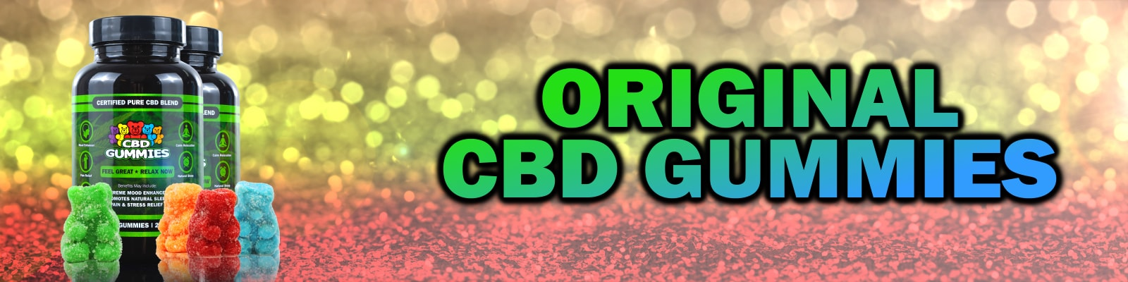 banner featuring a bottle of hemp bombs original cbd gummies