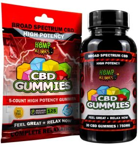 High Potency CBD Gummies Bag and Bottle