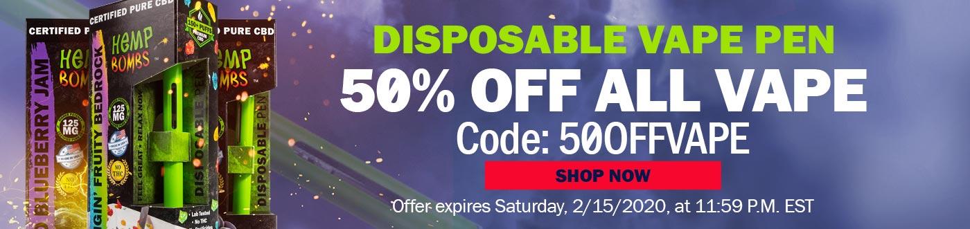 CBD Disposable Vape Pens 50% Off Code: 50OFFVAPE