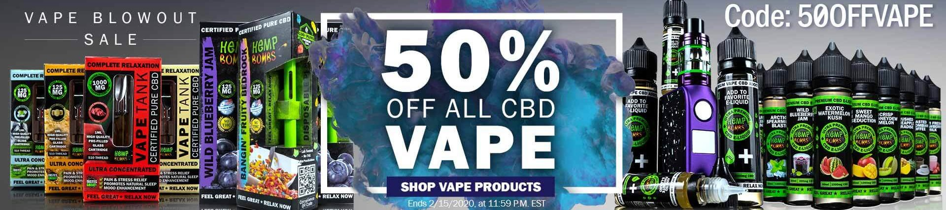 CBD Vape Products 50% Off Code: 50OFFVAPE