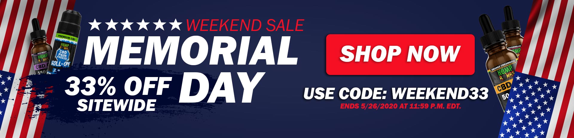 Premium CBD Products from Hemp Bombs - Memorial Day Sale