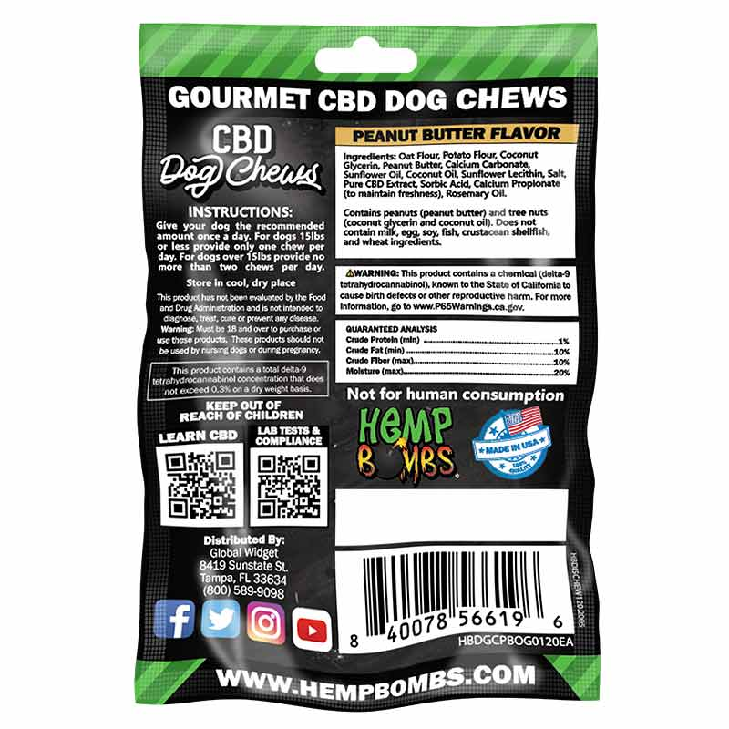 Peanut Butter CBD Dog Chews Treats