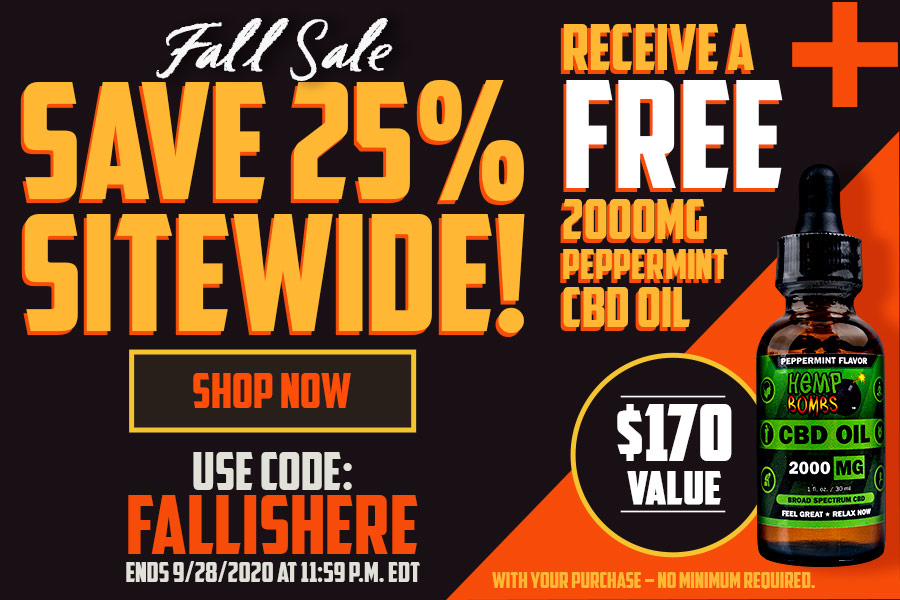 Hemp Bombs Fall Sale - 25% Off CBD Products