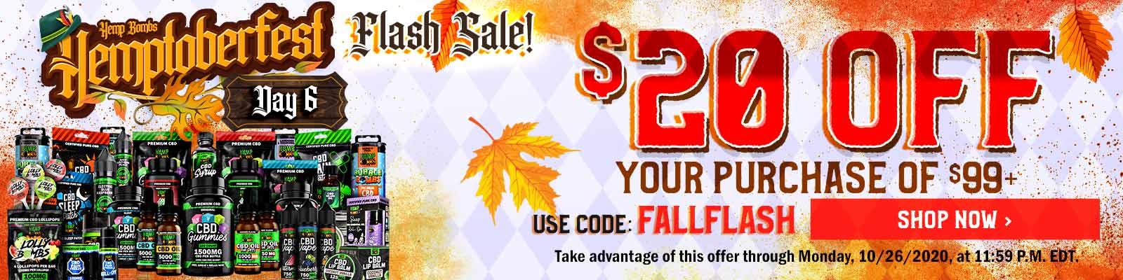 CBD Sale - Flash Sale $20 off of $99 Code: FALLFLASH