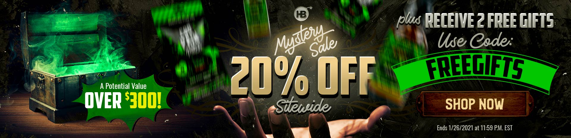 hemp bombs 20% off sale and 2 free gifts banner