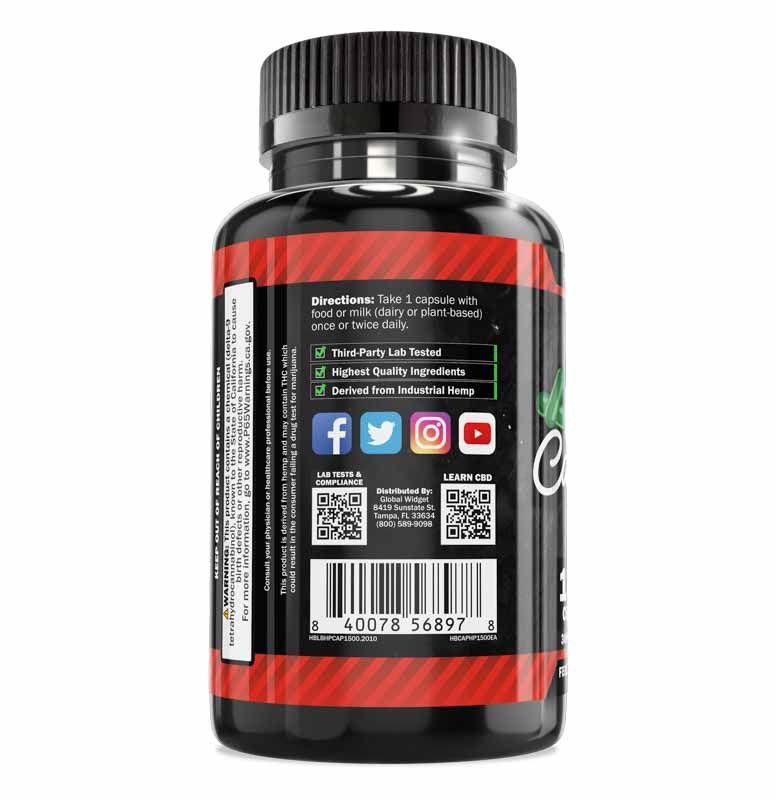 High Potency CBD Capsules 50-Count Left